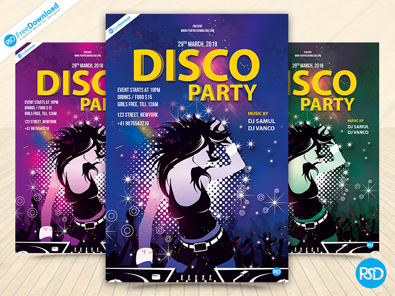 disco party flyer template by psd free download dribbble dribbble