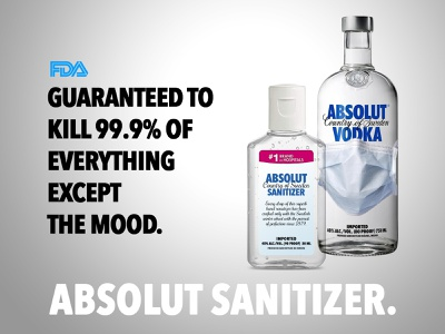 Absolut Hand Sanitizer vodka coronavirus satire absolut