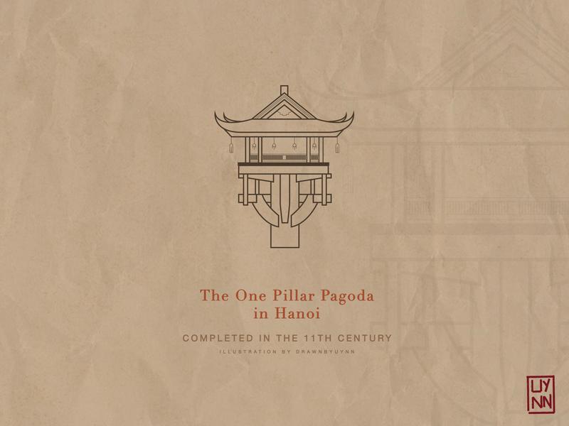 The One Pillar Pagoda in Hanoi, Vietnam linework lineart digital illustration ha noi vector illustration vectorart illustrator design illustraion
