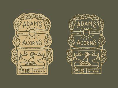 Adam's Acorns   Label WIP illustration branding label antler deer acorn adam