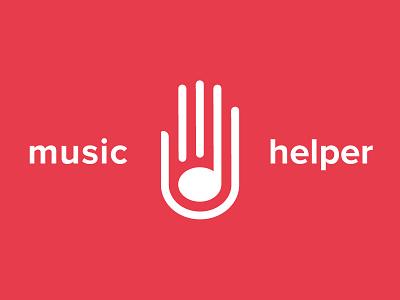 Music Helper Logo musical branding logo helping help hand note music