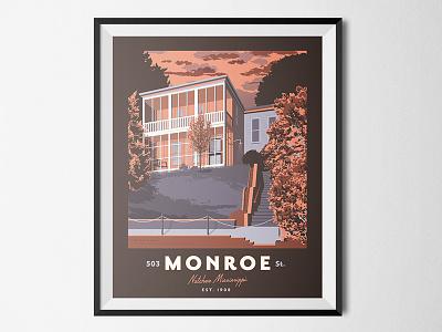Monroe Street Poster lettering print destination southern mississippi natchez illustration poster