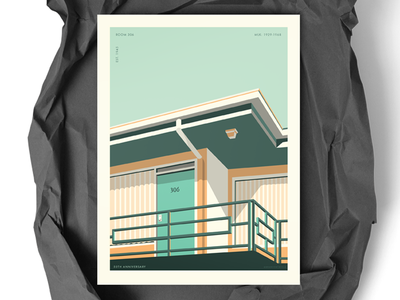 "Poster WIP: ""Room 306"" mlk civil rights 306 building illustration mid century print poster"