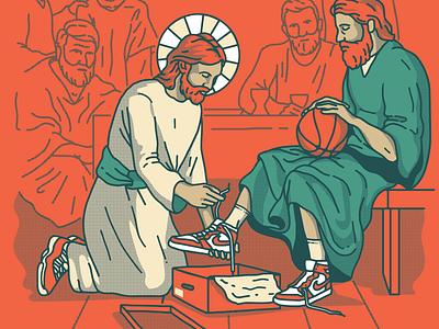 The Greatest Among You | Illustration christ shoebox shoe jordan servant church jesus sneaker nike