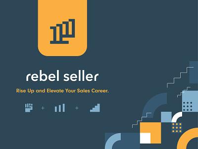 Rebel Seller Logo Design career elevate results data chart sales growth rise yellow branding logo seller rebel