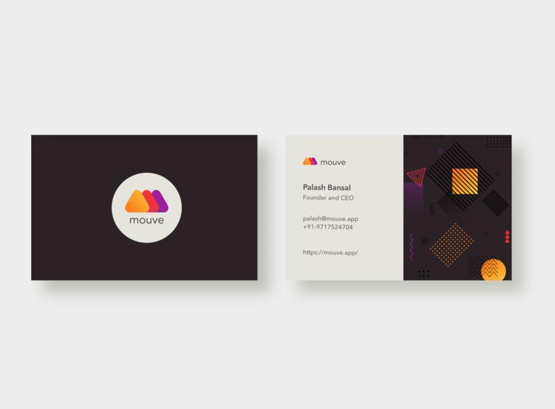 Mouve Business card (Black theme) business card design business socialmedia branding illustraion