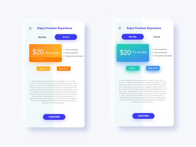 Subscription app design ui