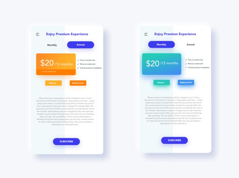 Subscription app design ui