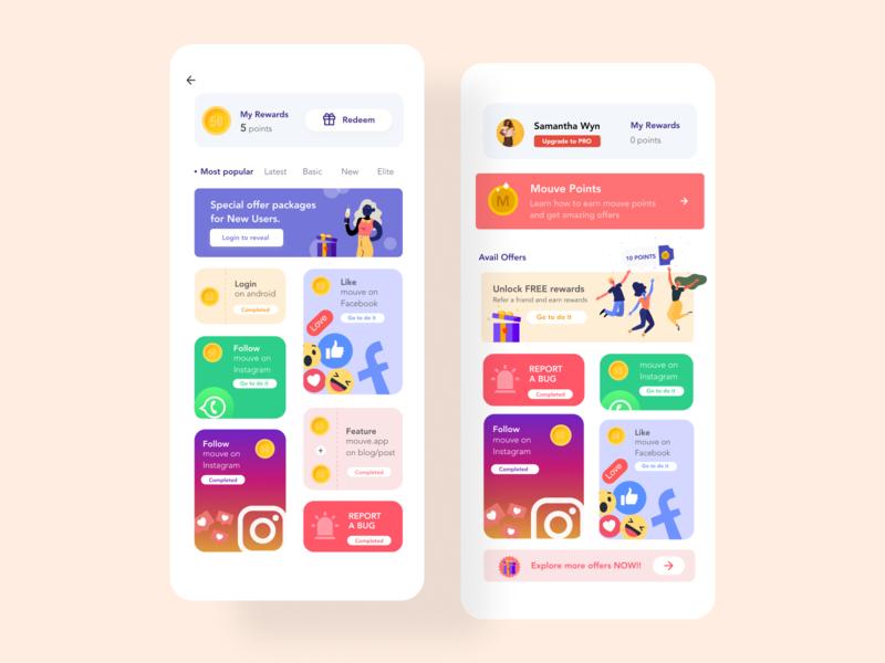 Rewards Screen design illustraion app design ui