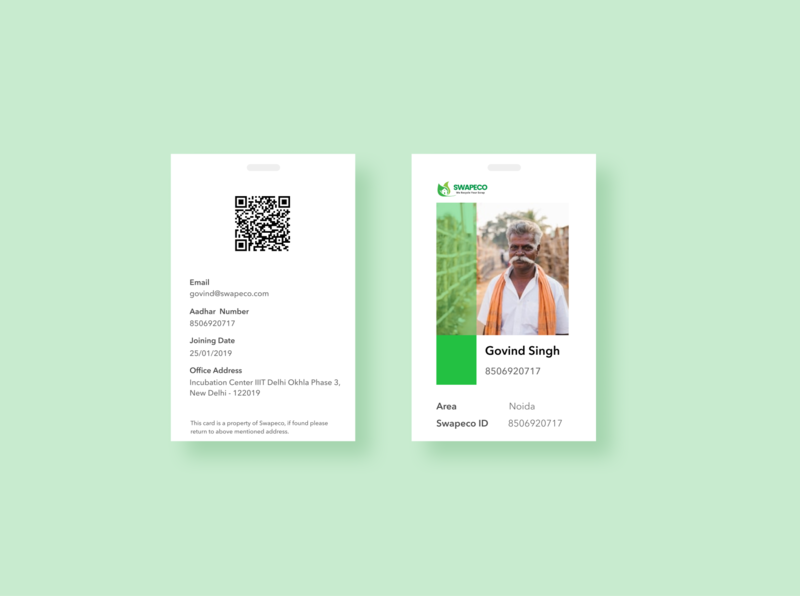 Swapeco ID card design branding ui swapeco id card design