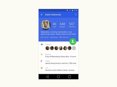 Foursquare Profile, Android design profile ui ux mobile android