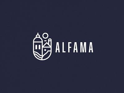 Hotel Alfama city sun turism building redesign minimal symbol icon illustration portugal brand graphic design simple identity freelance logo branding hotel