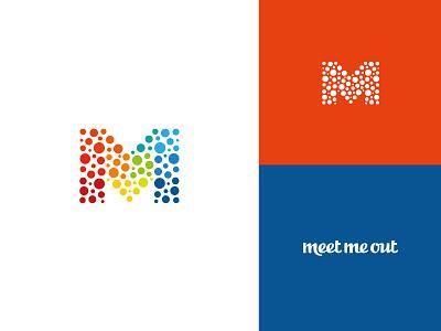 Meet me out joy fun people meet modern rainbow flag dots m brand graphic design ui branding illustration minimal icon design logo symbol