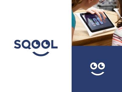 SQOOL eyes happy illustration graphic design code tech modern clever sqool students children education branding minimal design icon symbol logo tablet school
