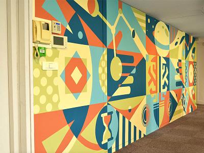 Birth Of Idea Mural colors space fresh office paris tech nature graffiti creative fun joy wall illustration painting mural