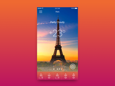 Meteo Mobile App interface concept sunset ux dailyui design visual widget app weather