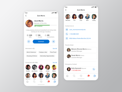University App: Student Profile Screen