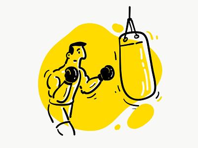 Boxing practice branding yellow vector illustraion energy practice boxing