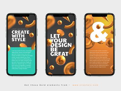 UI design using 3D Gold elements graphic design user interface ux design ui design golden creatwiz shiny cinema4d 3d art 3d gold ux web branding minimal ui symbol icon design