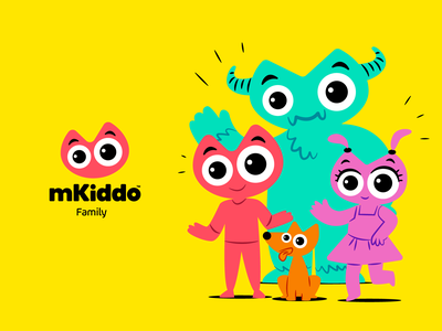 mKiddo Family branding concept symbol colo design illustration mascot cartoon logo brand