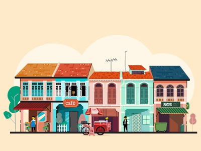 Old Town in Singapore concept symbol illustration vector design old town singapore