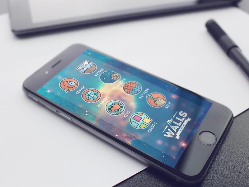 UI of The Walls. mockup design iphone 6s apple ios app wallpaper ui