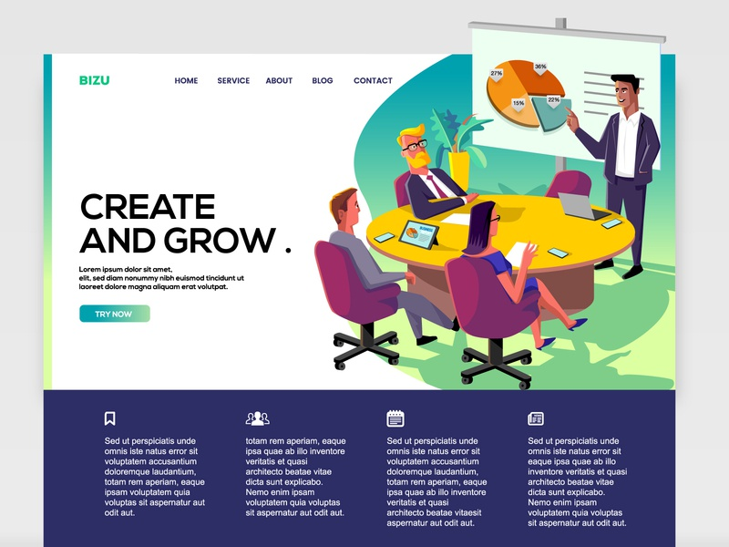 Illustration for Website banner professional meeting room meeting business corporate vector art vector editorial illustration editorial design editorial art editorial illustration website banner template web