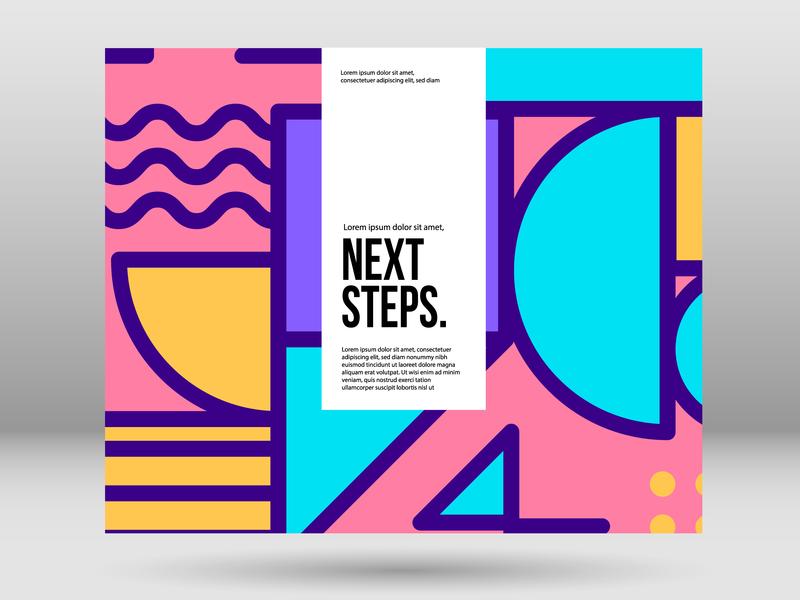 Next steps Cover design cover art print template design typography flat color branding web graphic design minimal art concept ui symbol illustration vector design