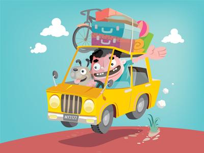 Roadtrip funny cartoon dog car travel vector art vector illustration