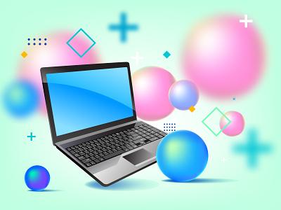 Vector design on Laptop adobe illustrator vector color design illustration computer laptop