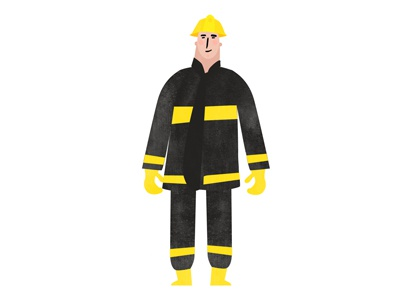 Fireman 2d animation character design illustration
