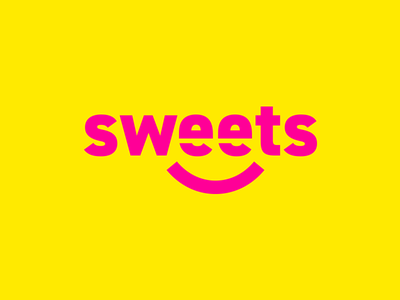 Sweets Logo thirtylogos candy shop day 11 store logo yellow pink candy sweets