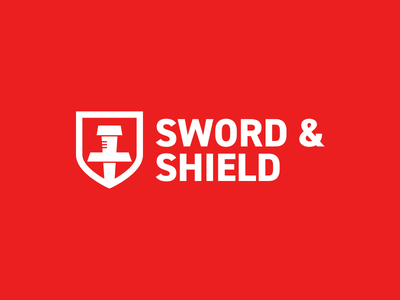 Sword & Shield Logo sword thirtylogos sword  shield day 12 white red software security safe logo shield