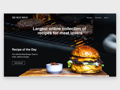 Meat Recipe Site Landing Page beef burger design modern simple web ui webdesign recipie meat landing page