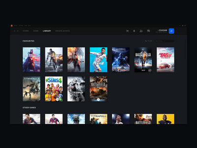 Origin - Library library ui ux ux ui design origin gaming videogames orange redesign design oragne