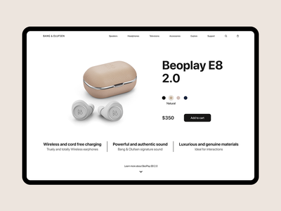 Bang & Olufsen - Beoplay E8 2.0 Product Page ux ui website redesign product e8 beoplay bo bang  olufsen