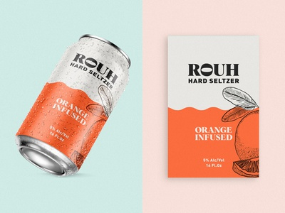 Rouh - Hard Seltzer can drink label packaging label design tropical typogaphy logo organic packaging alcohol packaging alcohol branding brand design brand identity branding alcohol