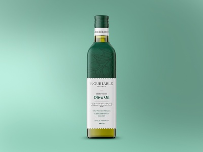 NOURIABLE Olive Oil Packaging 3d typography product design beauty brand identity healthy packaging cosmetics skincare branding minimalist organic food organic label packaging label design box design adobe illustrator visual identity adobe photoshop