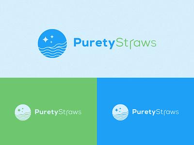 PuretyStraws Logo product icon mark brand identity designer visual identity typography water blue logo logotype brand identity branding