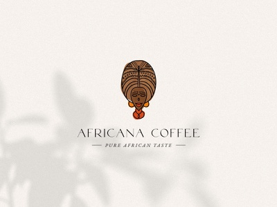 African Coffee Brand Identity handdrawn handdrawn logo coffee branding africa african african woman coffee bean coffee boho logotype for sale logo organic brand identity visual identity branding