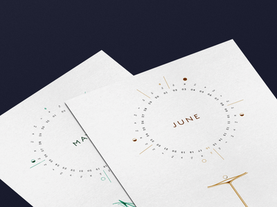 June Calendar Design abstract calendar design astrology calendar illustration typography