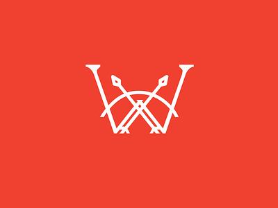 Warrior Logo branding design logomark w logo monogram logo