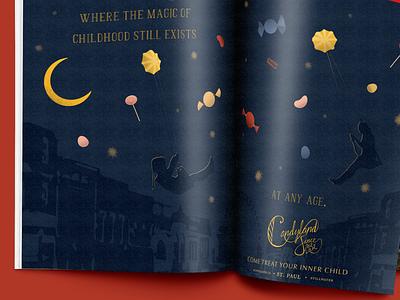 Candyland childrens illustration night sky design illustration advertising