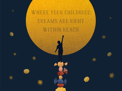 Reach for the Stars dreams nightsky childlike childrens illustration advertising design typography illustration