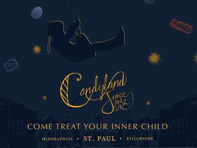 Candyland: Come treat your inner child candy logotype advertisment childlike design logo typography illustration