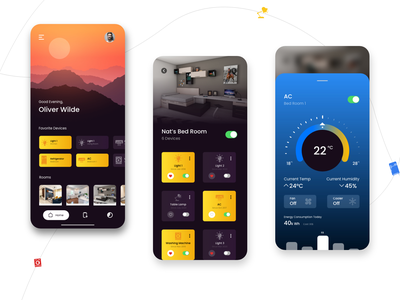 Smart Home Automation product shot ambience interaction home mobile app design mobile ui app colors adobexd uidesign minimalistic smart home app smart home smart home automation gradient colorful ui design