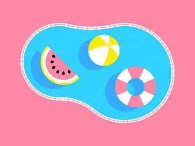 Floaties food summer pool character flat creative art web design risograph graphic design pattern illustrator design branding icon illustration vector logo color
