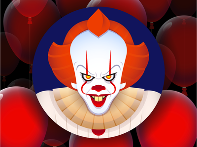Pennywise Avatar horror balloon it pennywise movie character creative art web design risograph graphic design pattern illustrator design branding icon illustration vector logo color