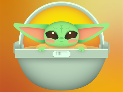 The Child the child baby yoda mandalorian character flat creative art web design risograph graphic design pattern illustrator design branding icon illustration vector logo color