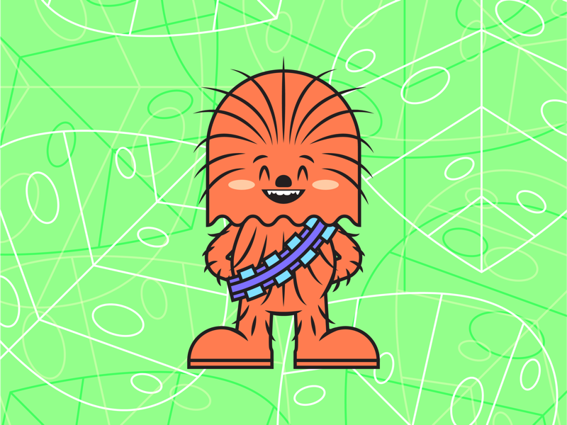 Chewie video animation icon pop culture illustration character branding color design fanart art star wars wookiee chewbacca